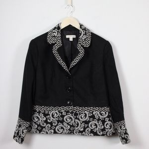Coldwater Creek Shaped Jacquard Blazer Jacket